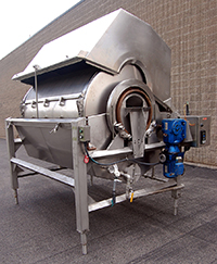 used LYCO HOT WATER ROTARY BLANCHER, 48 inch diameter by 8 foot long drum, stainless steel, Alard item Y2839