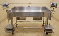 used, Palcon BT, TWO-STATION BAG FILLING TABLE, stainless steel, with scales, Alard item Y3418