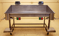 Used BAG FILLING TABLE, 2-station, with scales and bag holders, stainless steel; Alard item Y2099
