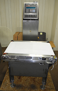 used checkweigher, CASE-WEIGHER, stainless steel, Alard item Y2494