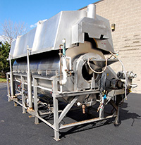 used Hot water rotary blancher 16 foot long 48 inch diameter, Hughes, all stainless steel, Alard item Y3439