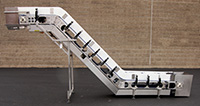 Used, Z-SHAPED ELEVATING BELT CONVEYOR, food grade, Alard item Y3552