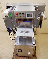 used ORICS Model VGF-100 TRAY SEALER, VACUUM, GAS FLUSH, food grade stainless steel, Alard item Y3712