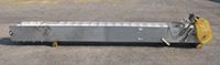 Used STAINLESS STEEL ELEVATING BELT CONVEYOR, 18 inches wide by 15 feet long; Alard item Y1956