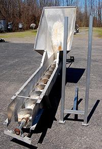Used ELEVATING SCREW CONVEYOR / FEEDER with HOPPER infeed, all stainless steel, Alard item Y2230