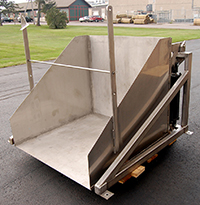 NEW BIN DUMPER / TOTE DUMPER, FOOD GRADE STAINLESS STEEL, FOR 40 by 48 inch bins, Alard item Y3543