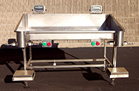 NEW BAG FILLER TABLE, 2-station, stainless steel, with scales, holders, Alard item Y3572
