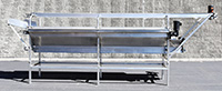 Used THREE-LEVEL INSPECTION CONVEYOR, stainless steel, 14 feet long; Alard item Y3637