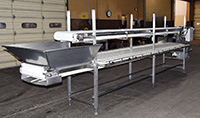 Used TWO-LEVEL INSPECTION BELT / CORING CONVEYOR / TRIM TABLE / PACKING CONVEYOR, Alard item Y3768