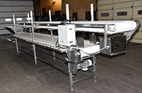 used TWO-LEVEL INSPECTION BELT / CORING CONVEYOR / TRIM TABLE / PACKING CONVEYOR, stainless steel, 12 statoin, Alard item Y3768
