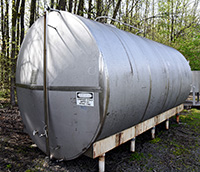 used, 4500 GALLON TANK, STAINLESS STEEL, SINGLE WALL, HORIZONTAL; Alard item Y3663