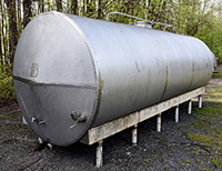 used, 4200 GALLON TANK, FOOD GRADE STAINLESS STEEL, SINGLE WALL, HORIZONTAL; Alard item Y3664