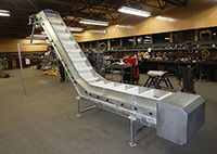 used Z-SHAPED ELEVATING BELT CONVEYOR, food grade, stainless steel, 20 inches wide, Alard item Y3368