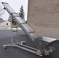 used, Weiler Model 12SC, ELEVATING SCREW CONVEYOR with HOPPER, stainless steel, USDA, Alard item Y4118