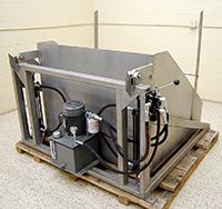 NEW BIN DUMPER / TOTE DUMPER, USDA food grade stainless steel, FOR 48 by 48 inch bins; Alard item Z9456