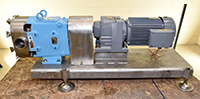 used, WAUKESHA Model 130 SANITARY ROTARY POSITIVE DISPLACEMENT PUMP with drive and base, Alard item Y2870