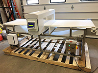 used SAFELINE FOOD GRADE METAL DETECTOR with conveyor, 32x7, Alard item Y4252