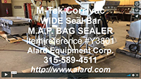 used M-TEK CORR-VAC MARK III BULK BIN SUSPENDED VACUUM GAS-FLUSH BAG SEALER, Alard item Y3801