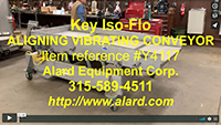 used KEY ISO-FLO VIBRATORY ALIGNING FEED CONVEYOR, 105x42, stainless steel, Alard item Y4117