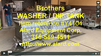 used, BROTHERS VEGETABLE IMMERSION WASHER / DIP TANK with ELEVATING DISCHARGE CONVEYOR, all stainless steel, Alard item Y4104