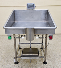 new, SINGLE-STATION NETWEIGH BAG FILLING TABLE, stainless steel, Alard item Y4241