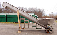 used, FPEC INCLINE SCREW CONVEYOR with INFEED HOPPER, Model SC-126, stainless steel, Alard item Y2579