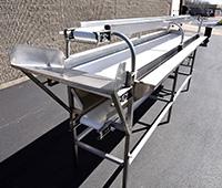 used, THREE-LEVEL INSPECTION CONVEYOR, food grade stainless steel, 14 feet long, Alard item Y3637