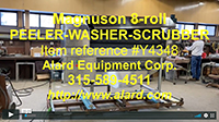 used, Magnuson Model WSP-3086 8 roll continuous peeler washer scubber, Alard item Y4348