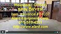 used, HEINZEN / HMI / GIMCO food grade stainless steel SPIN DRYER, with 14.5 cubic foot basket, Alard item Y4037