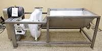 NEW, Cornell 6-inch HYDRO TRANSPORT FOOD PUMP with STAINLESS STEEL VORTEX TANK and MOTOR-DRIVE; Alard item Y4183