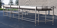 used MEYER FLUME SYSTEM, with DEWATERING shaker & PUMP, all stainless steel, Alard item Y4418