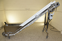 used, ELEVATING BELT CONVEYOR, gooseneck, food grade, stainless steel, 9.5 feet long by 10.5 inch wide, Alard item Y3948