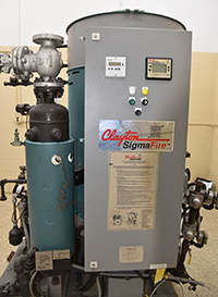used, Clayton Industries Sigma Fire 50 HP VERTICAL STEAM BOILER / STEAM GENERATOR, 150psi, natural gas, Alard item Y4540
