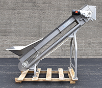 used, Vanmark Model 1405 ELEVATING BELT CONVEYOR with HOPPER, 12 inch wide, food grade, stainless steel, Alard item Y4610
