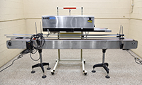 used, Packrite Model 6000 Continuous band BAG SEALER with BAG-SUPPORTING THROUGH-CONVEYOR, Alard item Y4228, Y4229