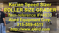 used, Kerian Model L-40 ROLLER SIZE GRADER with SIZED PRODUCT TAKEAWAY CONVEYOR, stainless steel, Alard item Y4635