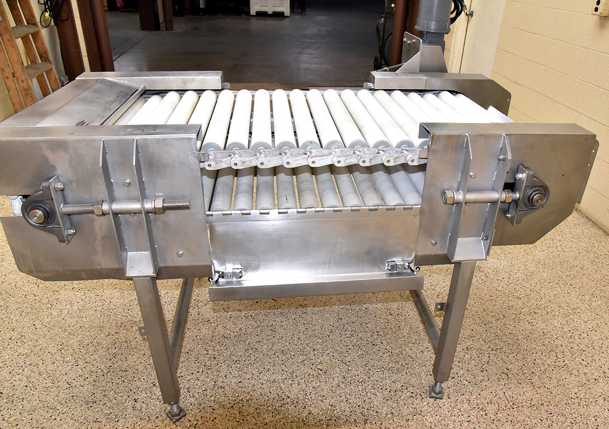 Used ROLLER BED INSPECTION TABLE, food grade stainless steel; Alard item Y4697